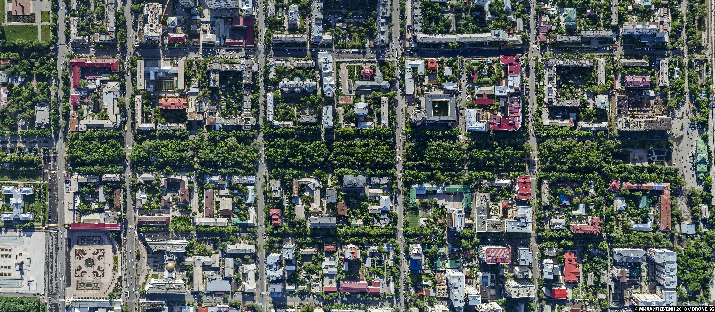 Бульвар Эркиндик в Бишкеке, вид сверху