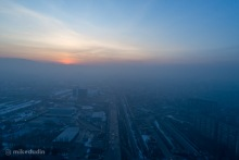 Смог в Бишкеке на закате